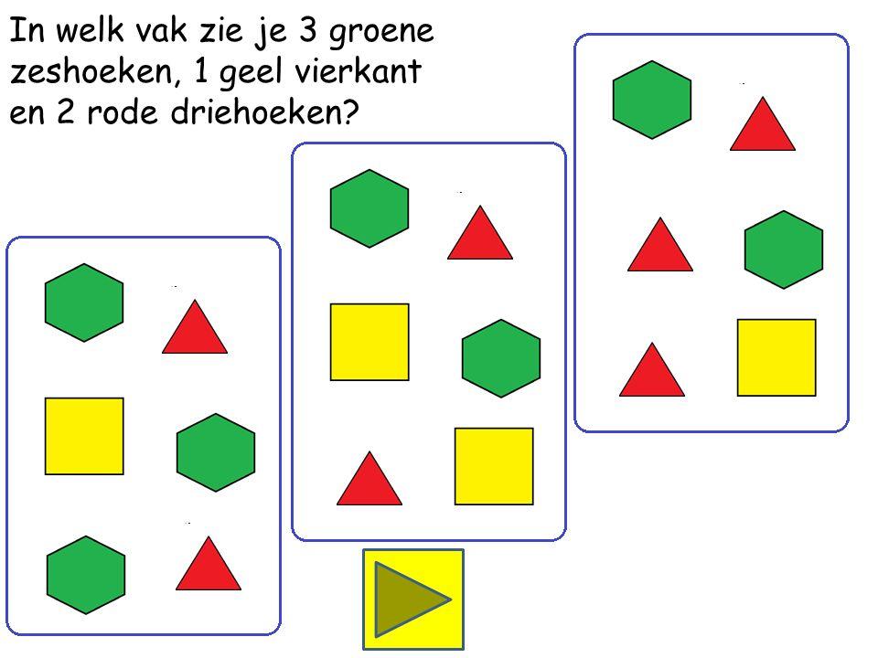 In welk vak zie je 2 groene zeshoeken, 2 gele vierkanten en 2 rode driehoeken