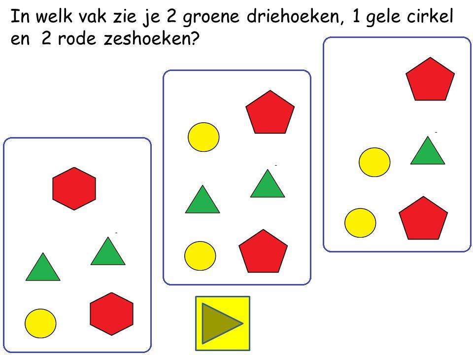 In welk vak zie je 1 groene driehoek, 2 gele cirkels en 2 rode vijfhoeken