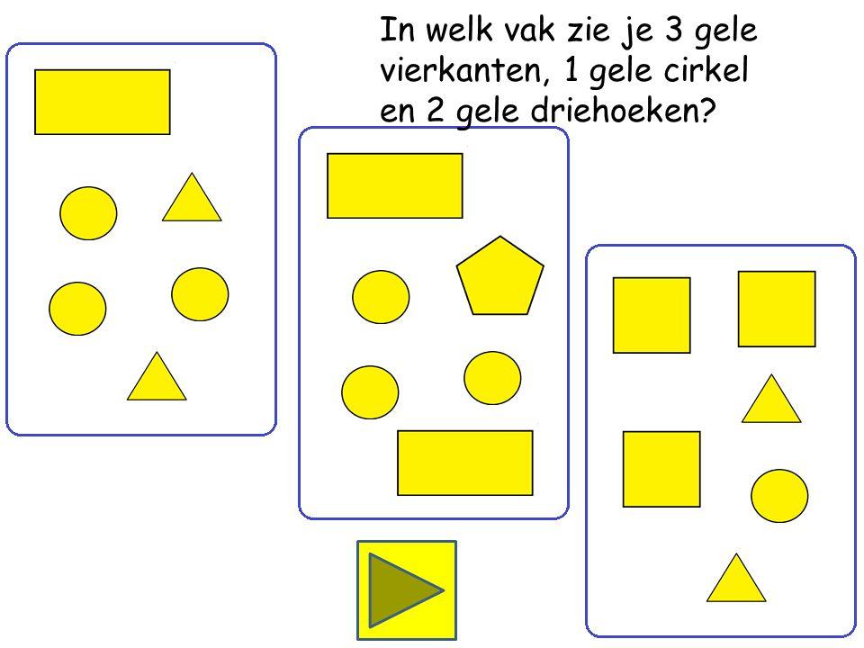 In welk vak zie je 1 gele rechthoek, 3 gele cirkels en 2 gele driehoeken
