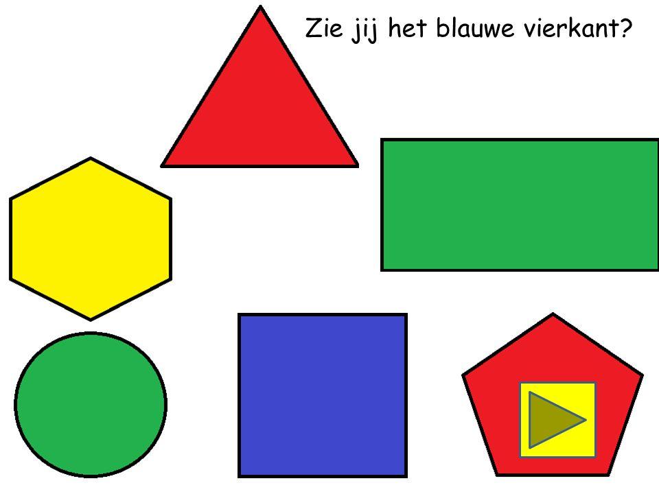 In welk vak zie je 2 gele rechthoeken, 3 gele cirkels en 1 gele vijfhoek
