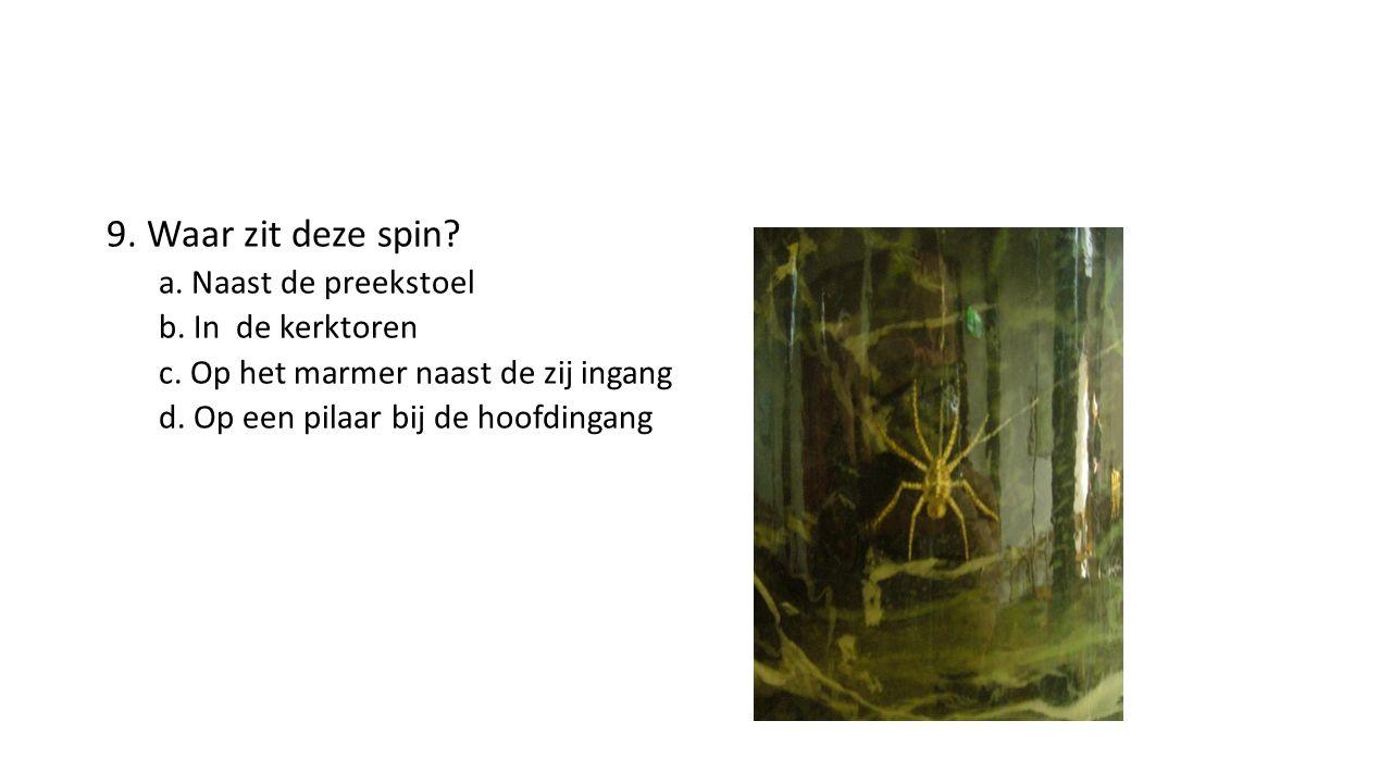 9. Waar zit deze spin. a. Naast de preekstoel b.