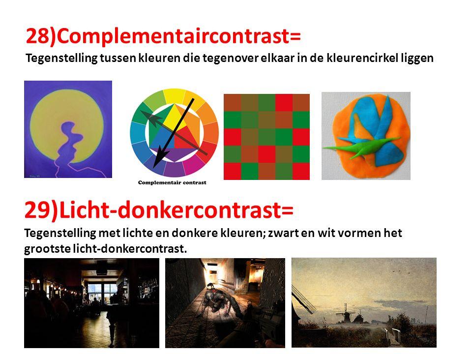 28)Complementaircontrast= Tegenstelling tussen kleuren die tegenover elkaar in de kleurencirkel liggen 29)Licht-donkercontrast= Tegenstelling met lich