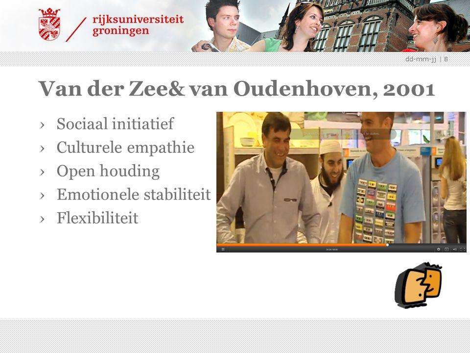 Van der Zee& van Oudenhoven, 2001 ›Sociaal initiatief ›Culturele empathie ›Open houding ›Emotionele stabiliteit ›Flexibiliteit dd-mm-jj | 8