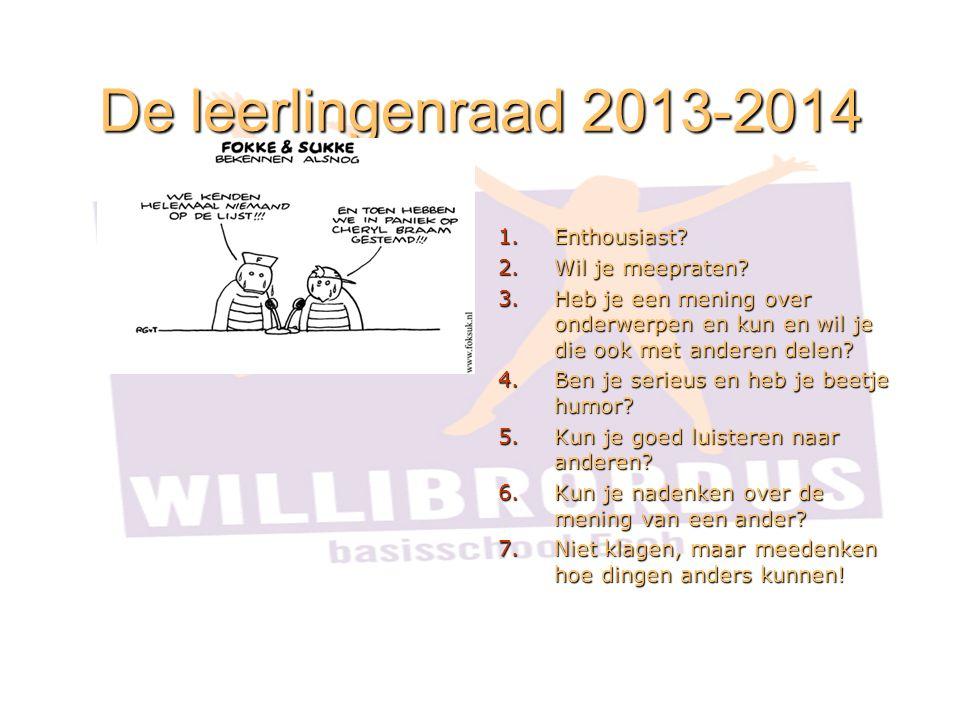 De leerlingenraad 2013-2014 1.Enthousiast.2.Wil je meepraten.