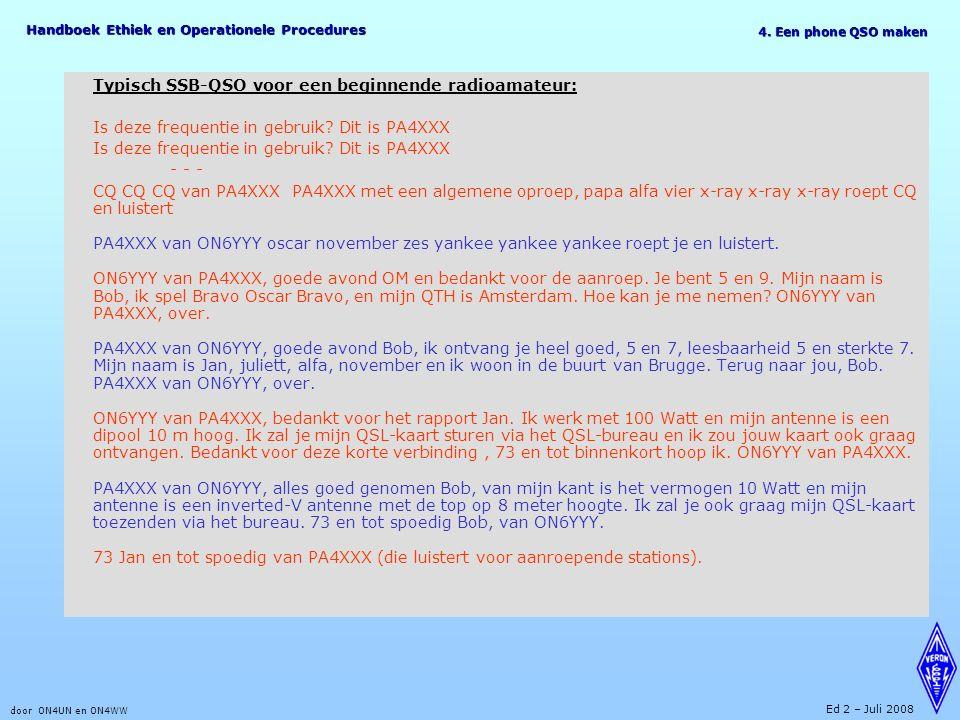 Handboek Ethiek en Operationele Procedures door ON4UN en ON4WW Ed 2 – Juli 2008 Typisch SSB-QSO voor een beginnende radioamateur: Is deze frequentie i