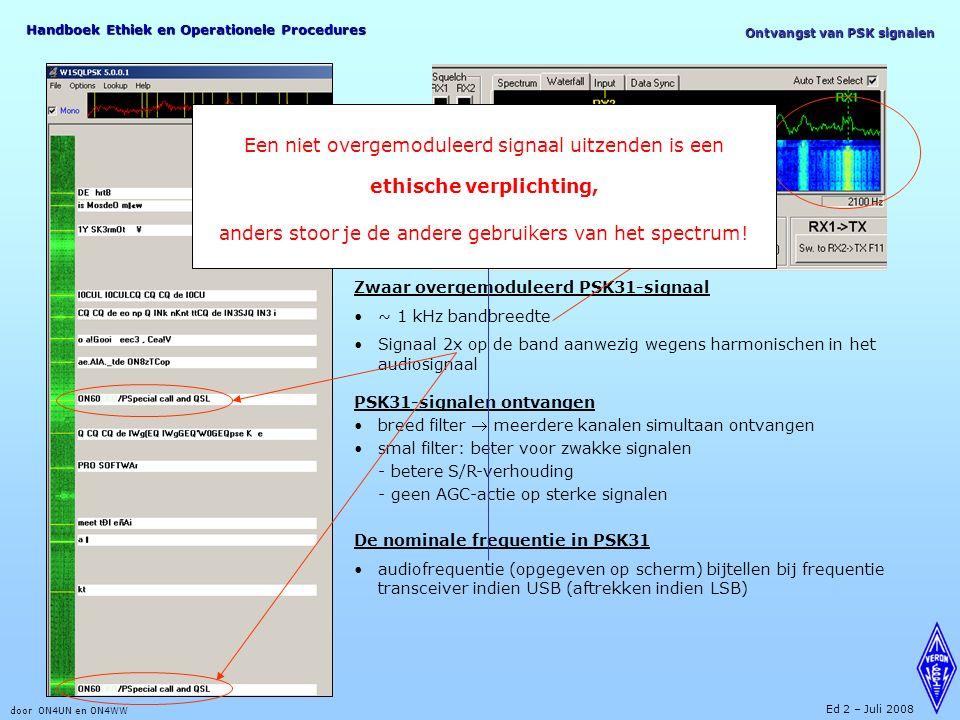 Handboek Ethiek en Operationele Procedures door ON4UN en ON4WW Ed 2 – Juli 2008 Ontvangst van PSK signalen Zwaar overgemoduleerd PSK31-signaal ~ 1 kHz