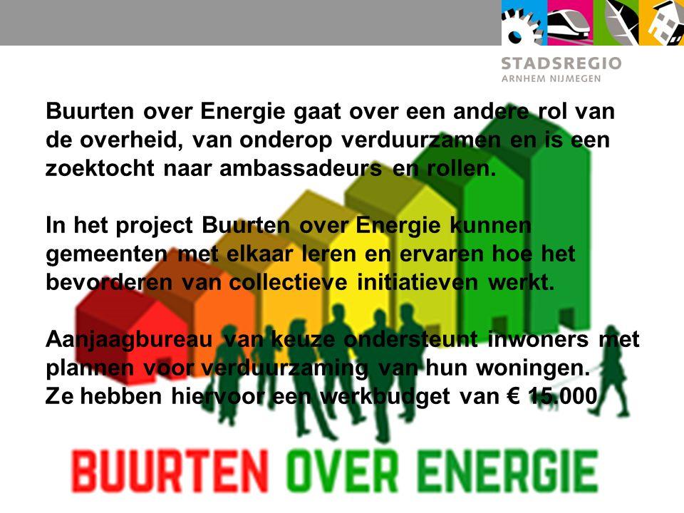 Buurten over Energie gaat over een andere rol van de overheid, van onderop verduurzamen en is een zoektocht naar ambassadeurs en rollen.