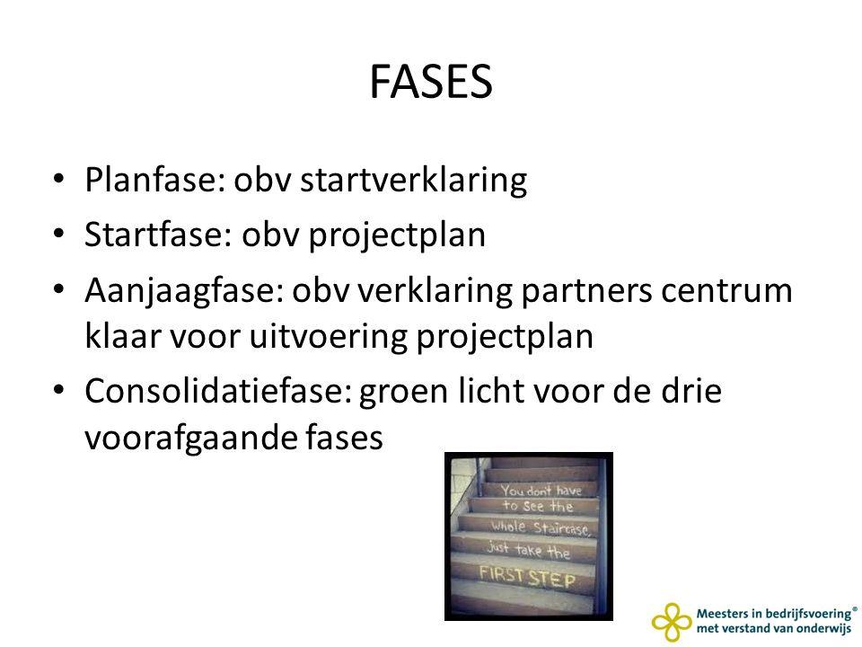 FASES Planfase: obv startverklaring Startfase: obv projectplan Aanjaagfase: obv verklaring partners centrum klaar voor uitvoering projectplan Consolidatiefase: groen licht voor de drie voorafgaande fases
