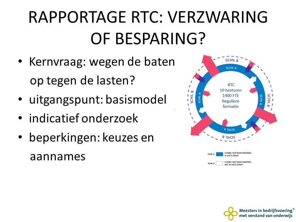 RAPPORTAGE RTC: VERZWARING OF BESPARING. Kernvraag: wegen de baten op tegen de lasten.