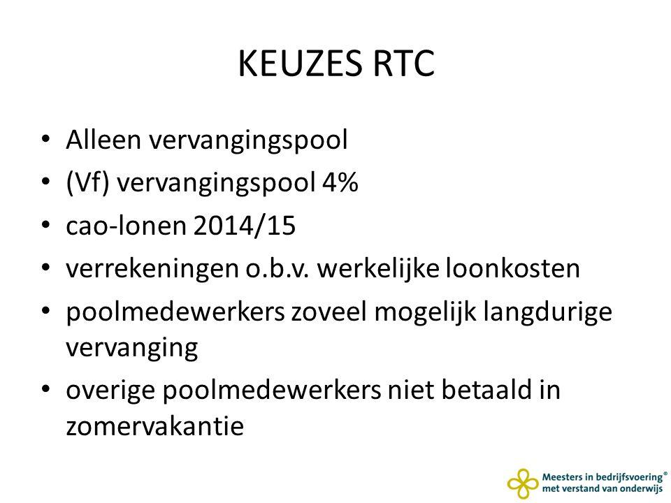 KEUZES RTC Alleen vervangingspool (Vf) vervangingspool 4% cao-lonen 2014/15 verrekeningen o.b.v.