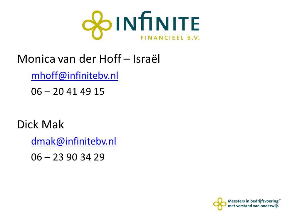 Monica van der Hoff – Israël mhoff@infinitebv.nl 06 – 20 41 49 15 Dick Mak dmak@infinitebv.nl 06 – 23 90 34 29