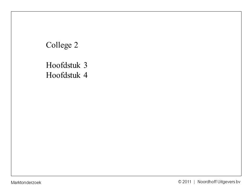 Marktonderzoek © 2011 | Noordhoff Uitgevers bv College 2 Hoofdstuk 3 Hoofdstuk 4