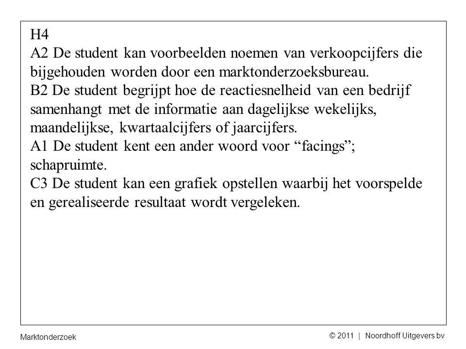 Marktonderzoek © 2011 | Noordhoff Uitgevers bv H4 A2 De student kan voorbeelden noemen van verkoopcijfers die bijgehouden worden door een marktonderzoeksbureau.
