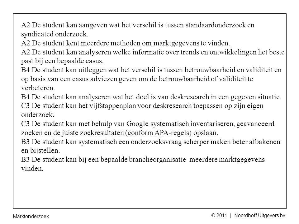 Marktonderzoek © 2011 | Noordhoff Uitgevers bv A2 De student kan aangeven wat het verschil is tussen standaardonderzoek en syndicated onderzoek.