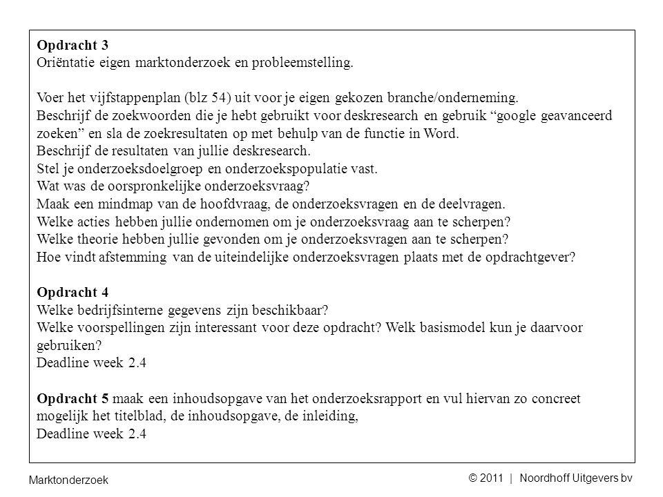 Marktonderzoek © 2011 | Noordhoff Uitgevers bv Opdracht 3 Oriëntatie eigen marktonderzoek en probleemstelling.
