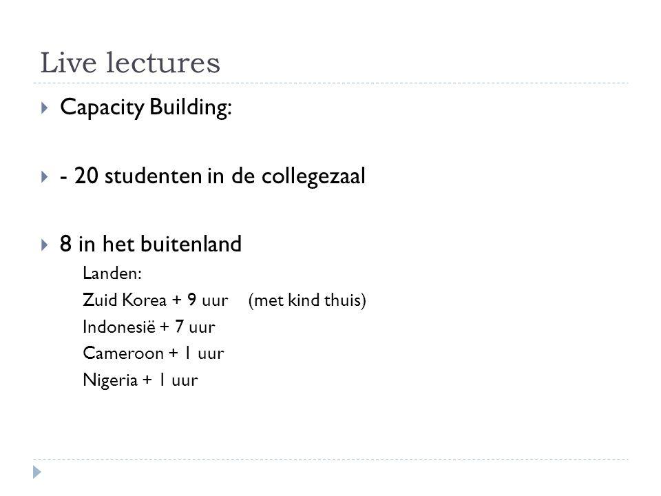 Live lectures  Capacity Building:  - 20 studenten in de collegezaal  8 in het buitenland Landen: Zuid Korea + 9 uur (met kind thuis) Indonesië + 7 uur Cameroon + 1 uur Nigeria + 1 uur