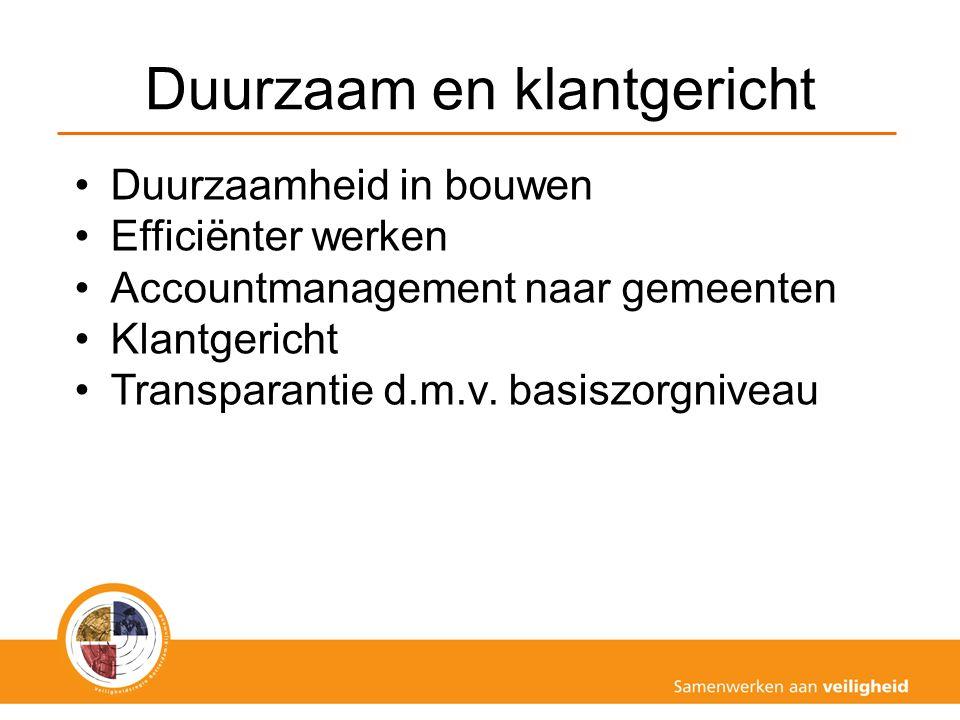 Duurzaam en klantgericht Duurzaamheid in bouwen Efficiënter werken Accountmanagement naar gemeenten Klantgericht Transparantie d.m.v. basiszorgniveau