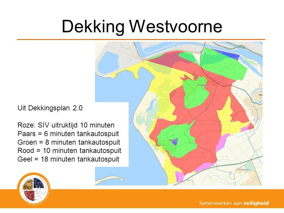 Dekking Westvoorne Uit Dekkingsplan 2.0 Roze: SIV uitruktijd 10 minuten Paars = 6 minuten tankautospuit Groen = 8 minuten tankautospuit Rood = 10 minu