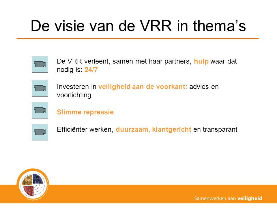 De visie van de VRR in thema's De VRR verleent, samen met haar partners, hulp waar dat nodig is: 24/7 Investeren in veiligheid aan de voorkant: advies