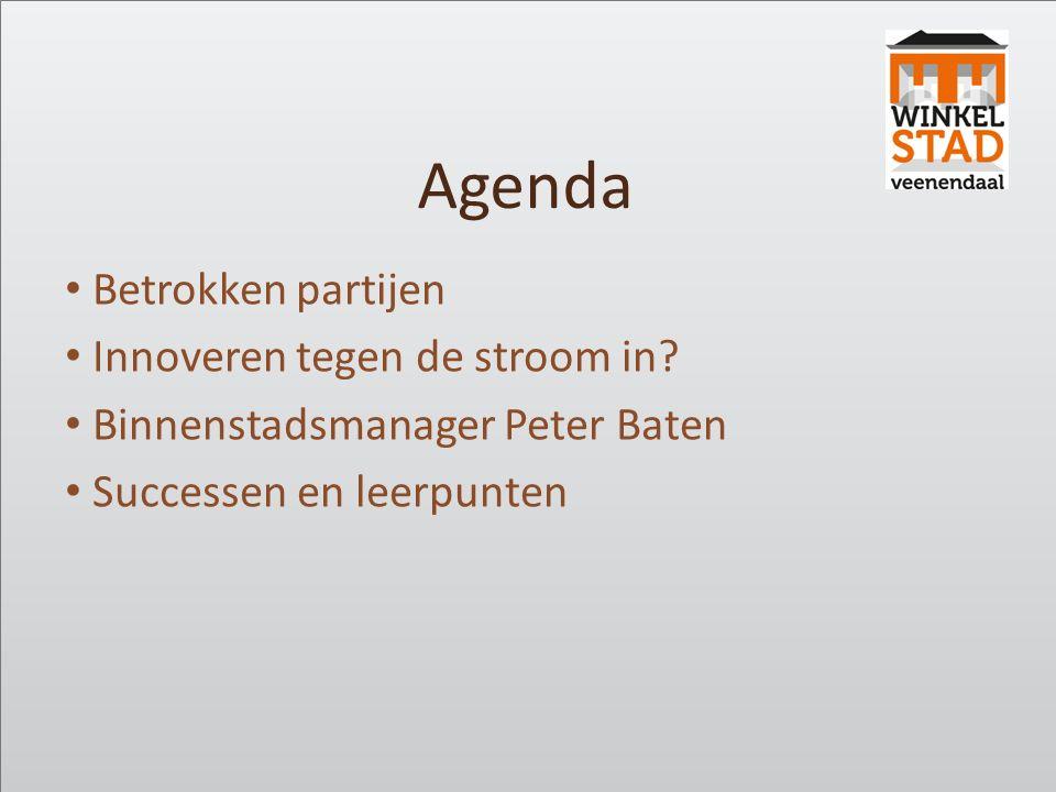 Agenda Betrokken partijen Innoveren tegen de stroom in? Binnenstadsmanager Peter Baten Successen en leerpunten