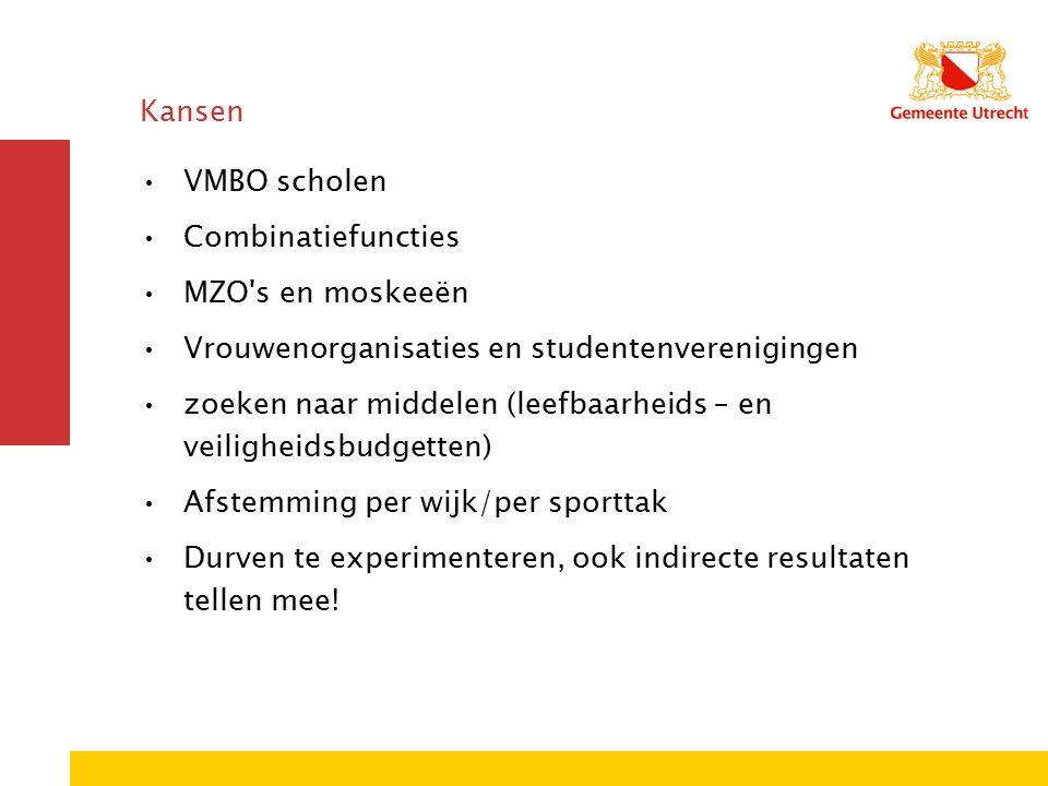 Kansen VMBO scholen Combinatiefuncties MZO s en moskeeën Vrouwenorganisaties en studentenverenigingen zoeken naar middelen (leefbaarheids – en veiligheidsbudgetten) Afstemming per wijk/per sporttak Durven te experimenteren, ook indirecte resultaten tellen mee!
