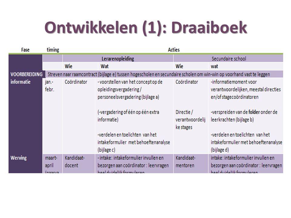 Ontwikkelen (1): Draaiboek