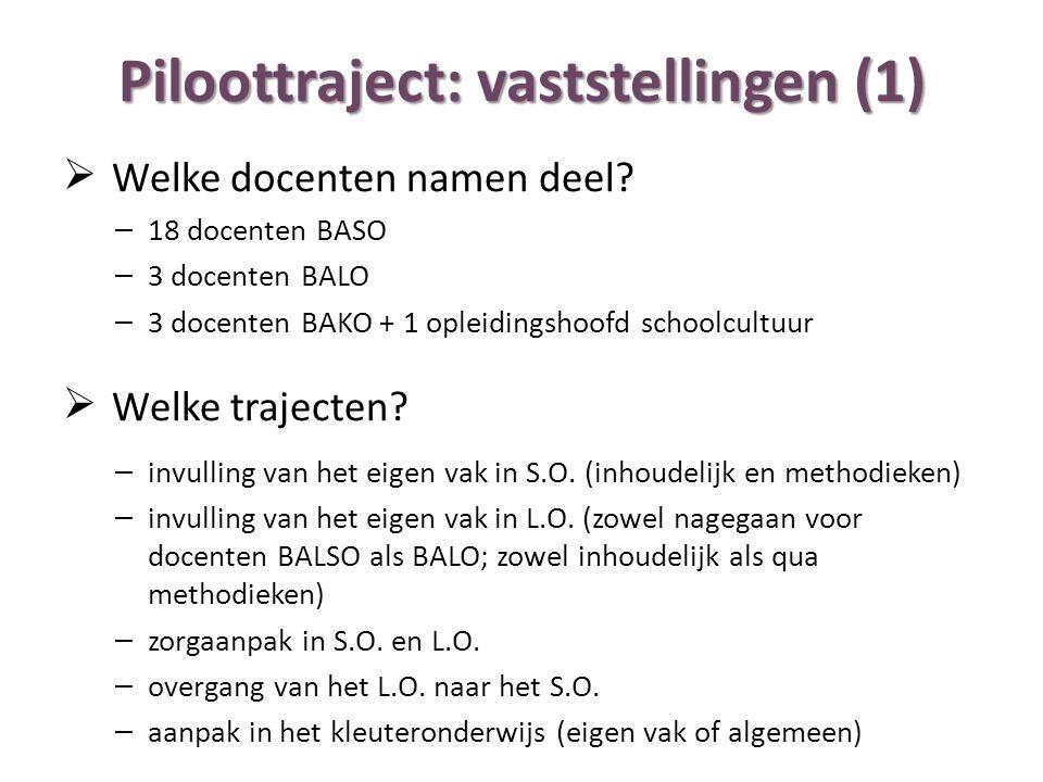 Piloottraject: vaststellingen (1)  Welke docenten namen deel.