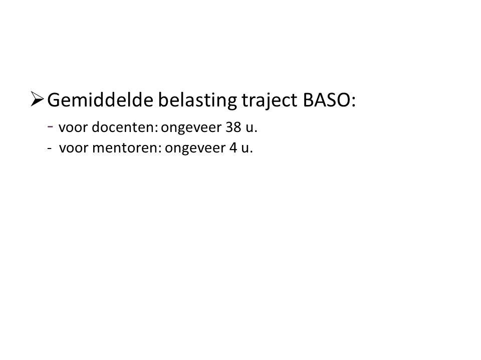  Gemiddelde belasting traject BASO: - voor docenten: ongeveer 38 u. - voor mentoren: ongeveer 4 u.