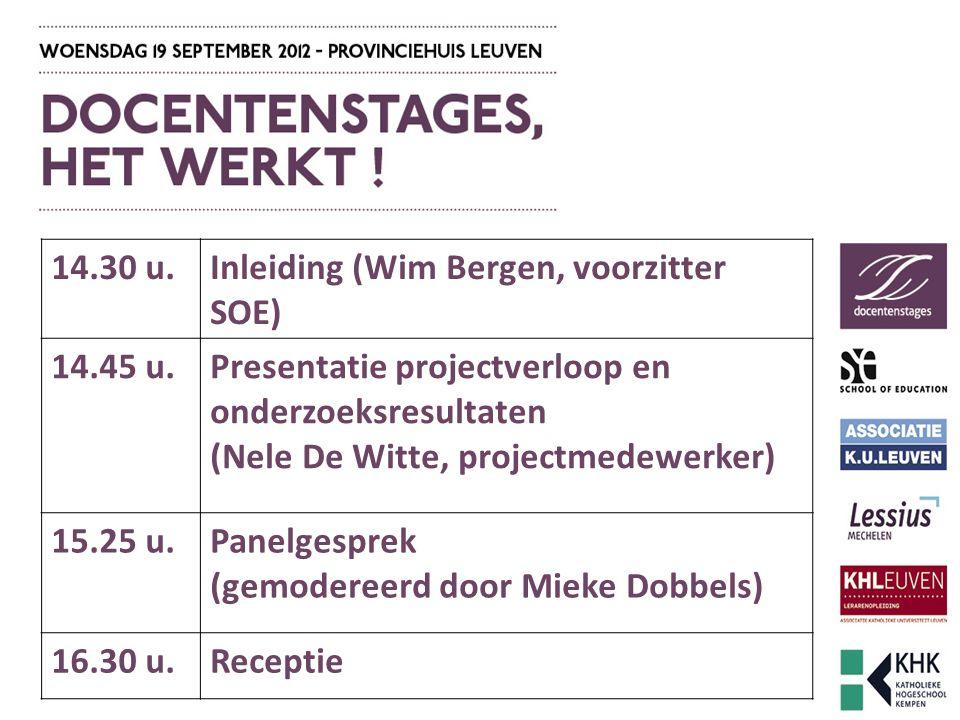 14.30 u.Inleiding (Wim Bergen, voorzitter SOE) 14.45 u.Presentatie projectverloop en onderzoeksresultaten (Nele De Witte, projectmedewerker) 15.25 u.Panelgesprek (gemodereerd door Mieke Dobbels) 16.30 u.Receptie