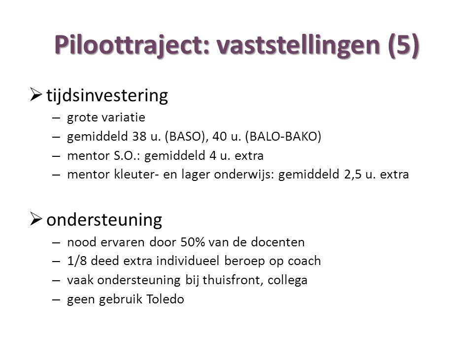 Piloottraject: vaststellingen (5)  tijdsinvestering – grote variatie – gemiddeld 38 u. (BASO), 40 u. (BALO-BAKO) – mentor S.O.: gemiddeld 4 u. extra