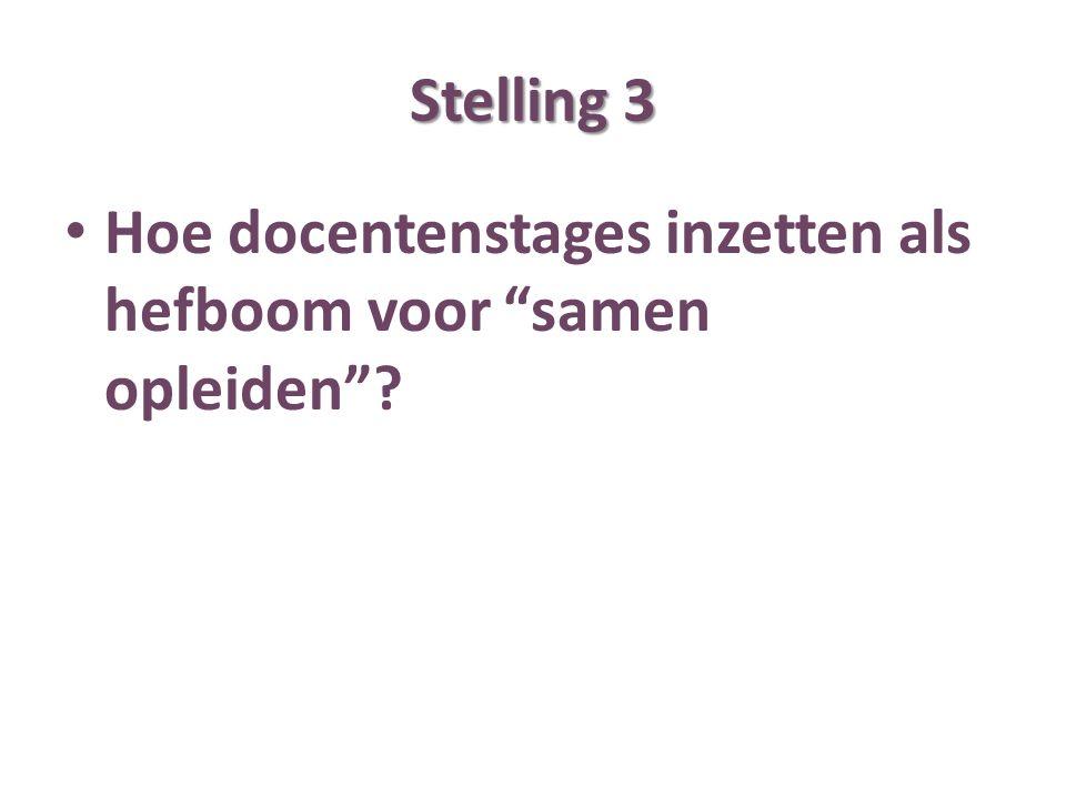 Stelling 3 Hoe docentenstages inzetten als hefboom voor samen opleiden ?