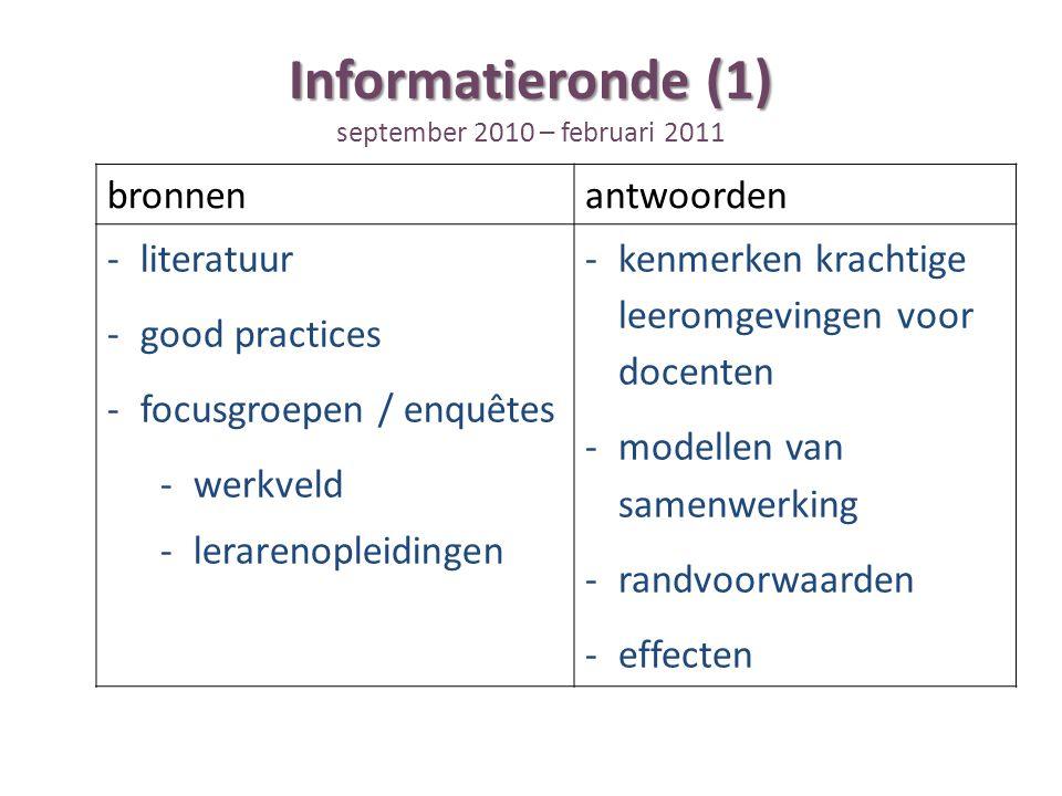 Informatieronde (1) Informatieronde (1) september 2010 – februari 2011 bronnenantwoorden -literatuur -good practices -focusgroepen / enquêtes -werkveld -lerarenopleidingen -kenmerken krachtige leeromgevingen voor docenten -modellen van samenwerking -randvoorwaarden -effecten