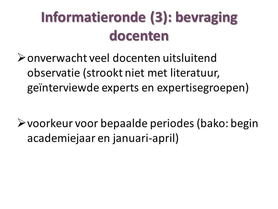 Informatieronde (3): bevraging docenten  onverwacht veel docenten uitsluitend observatie (strookt niet met literatuur, geïnterviewde experts en exper