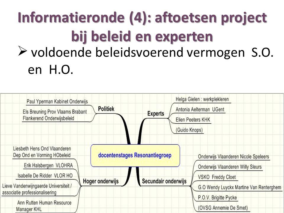 Informatieronde (4): aftoetsen project bij beleid en experten  voldoende beleidsvoerend vermogen S.O. en H.O.
