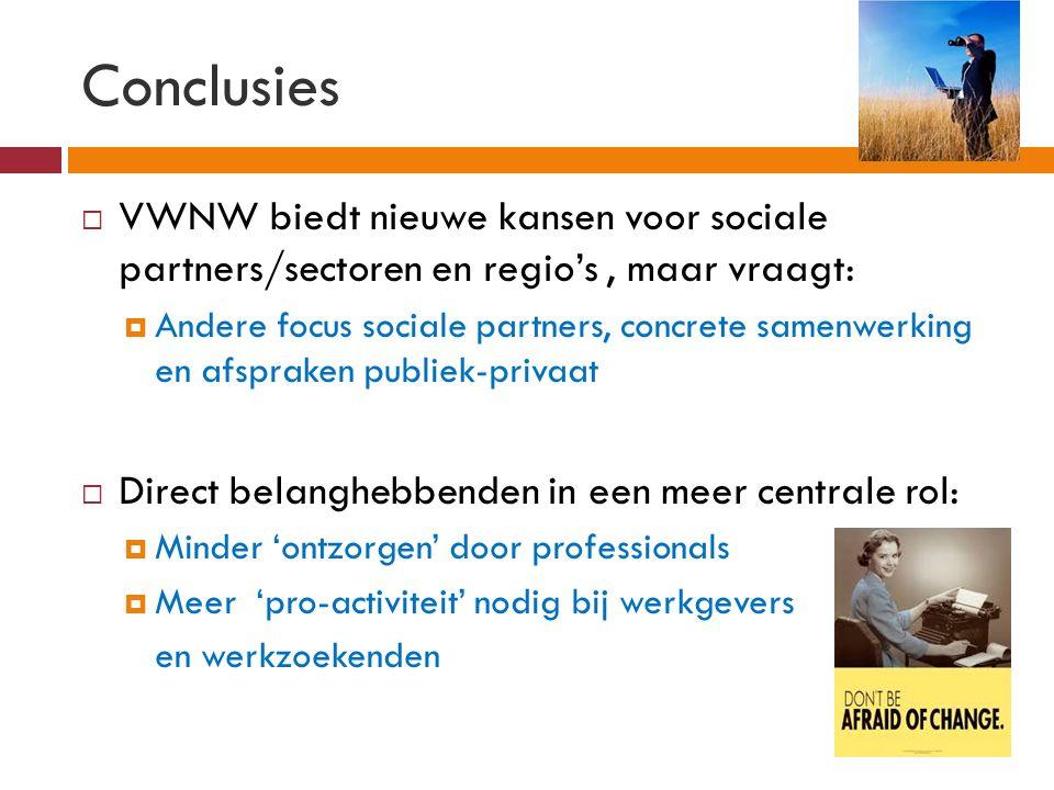 Conclusies  VWNW biedt nieuwe kansen voor sociale partners/sectoren en regio's, maar vraagt:  Andere focus sociale partners, concrete samenwerking en afspraken publiek-privaat  Direct belanghebbenden in een meer centrale rol:  Minder 'ontzorgen' door professionals  Meer 'pro-activiteit' nodig bij werkgevers en werkzoekenden