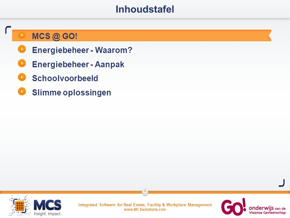 Integrated Software for Real Estate, Facility & Workplace Management www.MCSsolutions.com 3 Wat doet MCS voor GO.