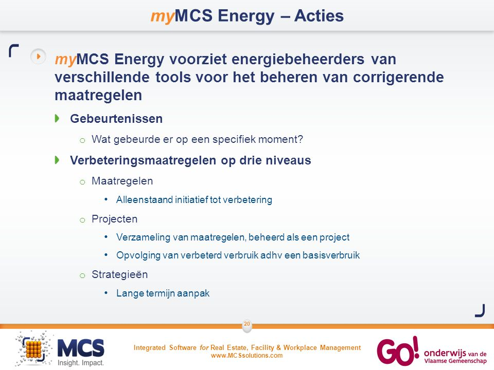 Integrated Software for Real Estate, Facility & Workplace Management www.MCSsolutions.com 20 myMCS Energy – Acties myMCS Energy voorziet energiebeheer