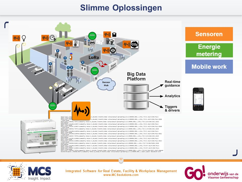 Integrated Software for Real Estate, Facility & Workplace Management www.MCSsolutions.com 22 Slimme Oplossingen Sensoren Energie metering Mobile work