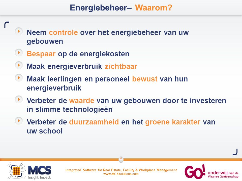 Integrated Software for Real Estate, Facility & Workplace Management www.MCSsolutions.com 16 Verbruik per m²