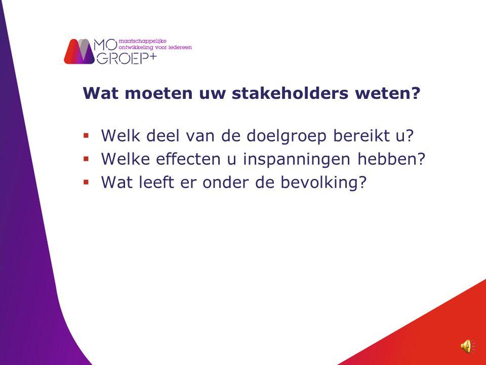 Wat moeten uw stakeholders weten