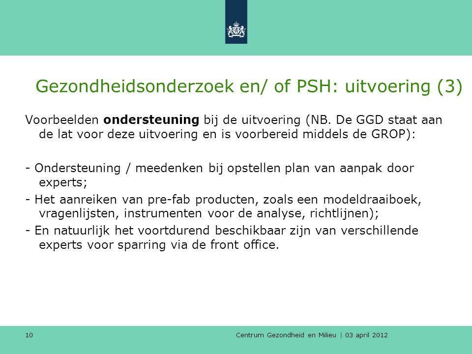 Centrum Gezondheid en Milieu | 03 april 2012 10 Gezondheidsonderzoek en/ of PSH: uitvoering (3) Voorbeelden ondersteuning bij de uitvoering (NB.