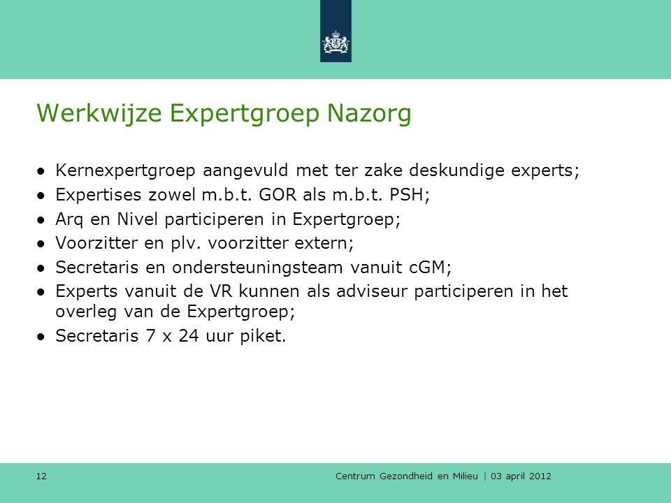 Centrum Gezondheid en Milieu | 03 april 2012 12 Werkwijze Expertgroep Nazorg ●Kernexpertgroep aangevuld met ter zake deskundige experts; ●Expertises zowel m.b.t.