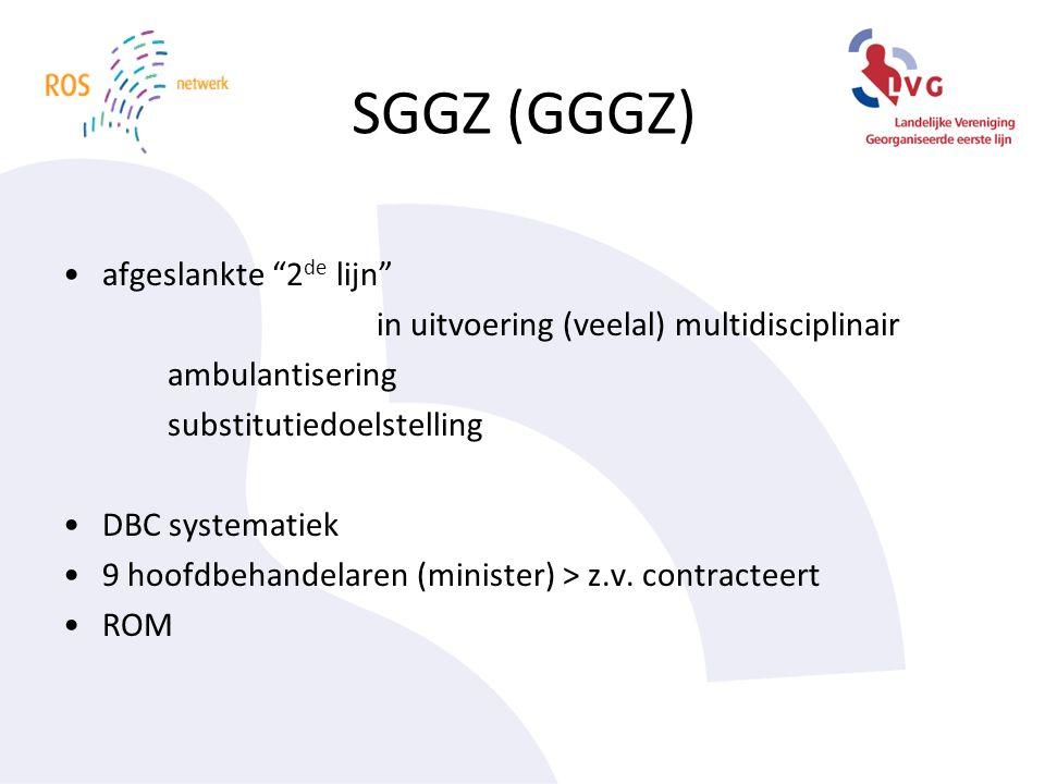 SGGZ (GGGZ) afgeslankte 2 de lijn in uitvoering (veelal) multidisciplinair ambulantisering substitutiedoelstelling DBC systematiek 9 hoofdbehandelaren (minister) > z.v.