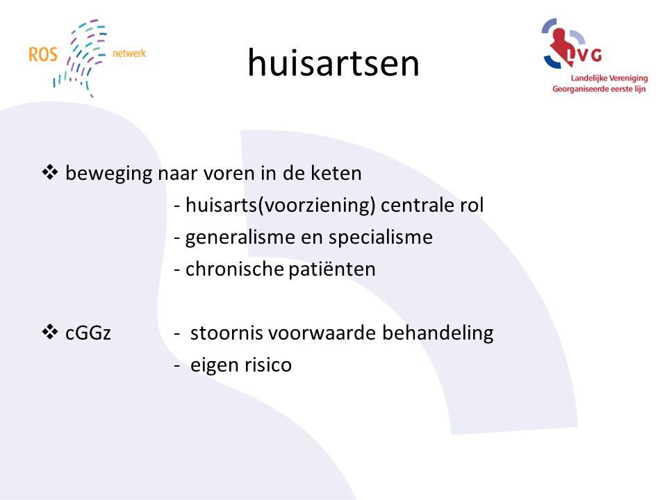 huisartsen  beweging naar voren in de keten - huisarts(voorziening) centrale rol - generalisme en specialisme - chronische patiënten  cGGz - stoornis voorwaarde behandeling - eigen risico