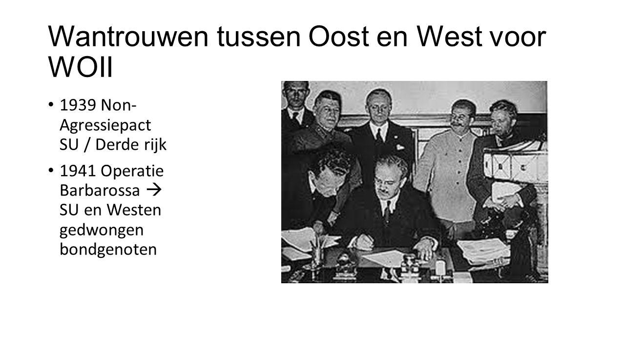 Wantrouwen tussen Oost en West voor WOII 1939 Non- Agressiepact SU / Derde rijk 1941 Operatie Barbarossa  SU en Westen gedwongen bondgenoten