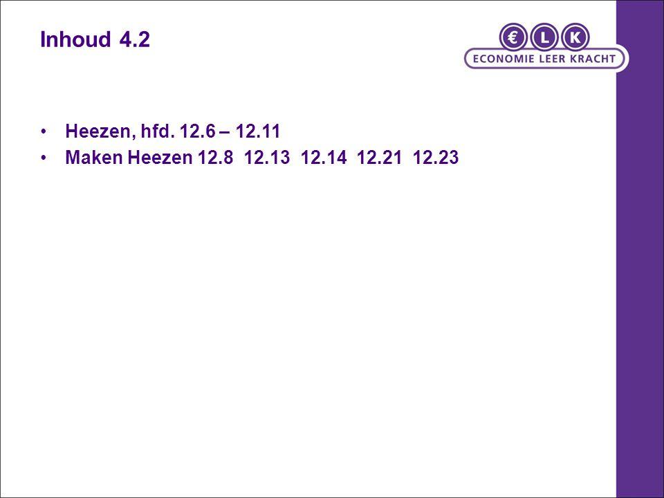 Inhoud 4.2 Heezen, hfd. 12.6 – 12.11 Maken Heezen 12.8 12.13 12.14 12.21 12.23