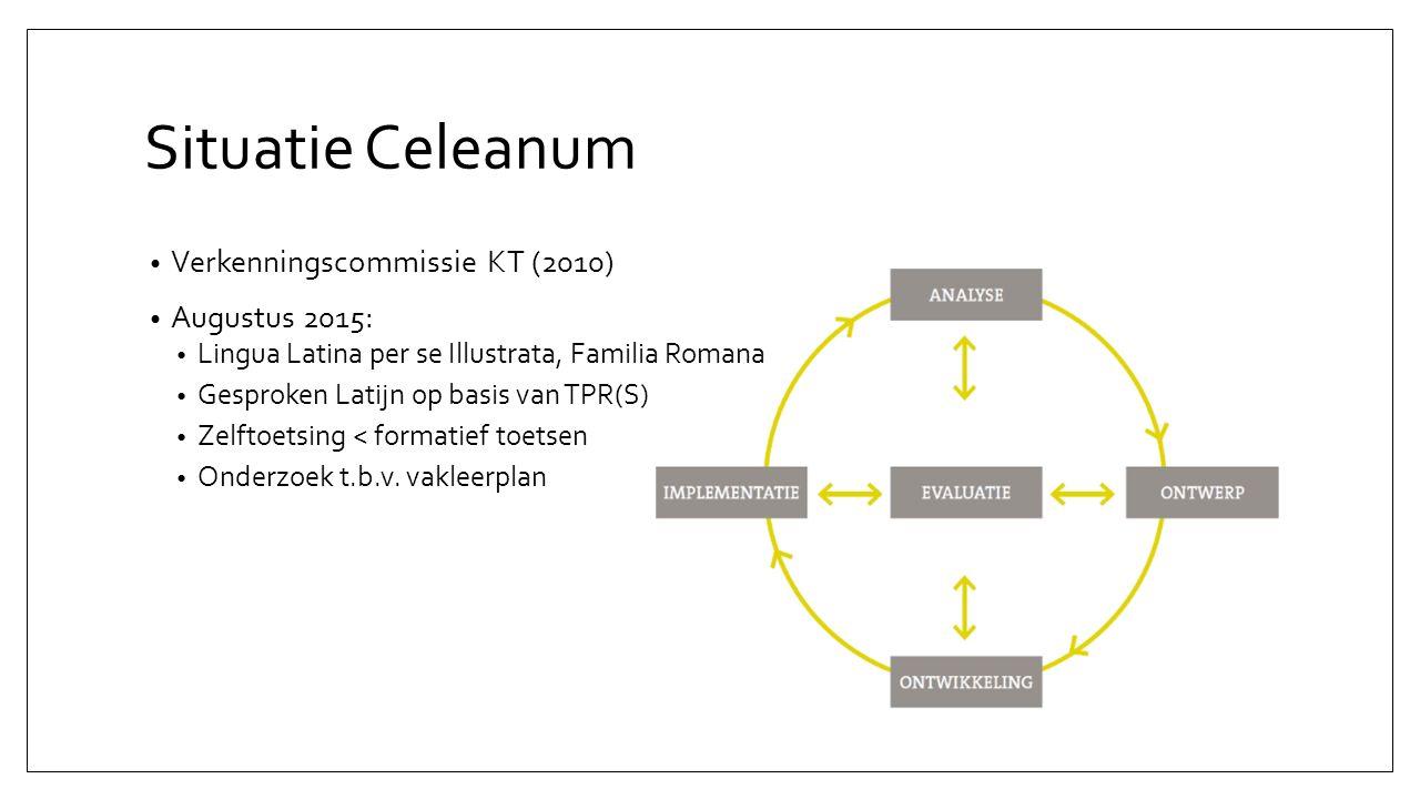 Situatie Celeanum Verkenningscommissie KT (2010) Augustus 2015: Lingua Latina per se Illustrata, Familia Romana Gesproken Latijn op basis van TPR(S) Zelftoetsing < formatief toetsen Onderzoek t.b.v.
