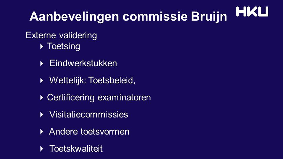 Aanbevelingen commissie Bruijn Externe validering Toetsing Eindwerkstukken Wettelijk: Toetsbeleid, Certificering examinatoren Visitatiecommissies Andere toetsvormen Toetskwaliteit