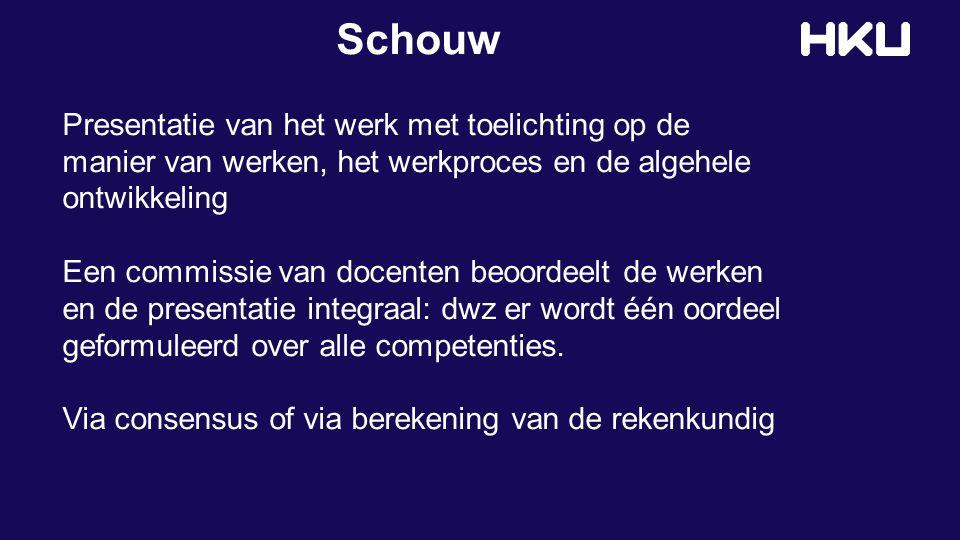 Schouw Presentatie van het werk met toelichting op de manier van werken, het werkproces en de algehele ontwikkeling Een commissie van docenten beoorde