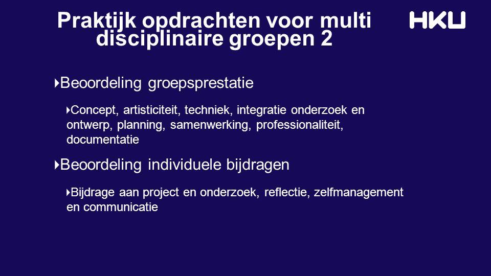 Praktijk opdrachten voor multi disciplinaire groepen 2 Beoordeling groepsprestatie Concept, artisticiteit, techniek, integratie onderzoek en ontwerp,